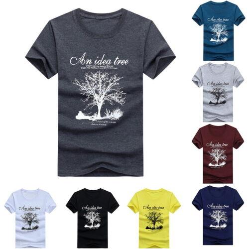T-Shirt TREE Short Sleeve Basic Tee Men Short Sleeve O-Neck T Shirts LO