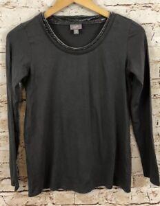 J-Jill-shirt-top-womens-XS-velvet-trim-collar-gray-long-sleeve-J9