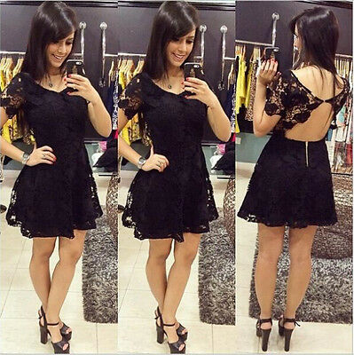 Sexy Women Summer Short Mini Lace Dress Casual Sleeveless Party Evening Cocktail