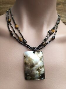 Vintage-Beaded-Necklace-With-Large-Square-MOP-Shell-Pendant-J060