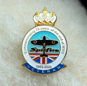 75-years-of-the-end-of-WW2-enamel-pin-badge-1945-2020-Spitfire-UK-poppy-day