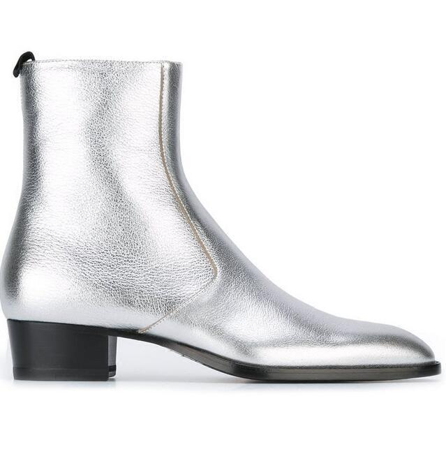 Vogue Mens Silver Shoes Ankle Boots Pointed Toe Chelsea Cuban Heels Show Bootie