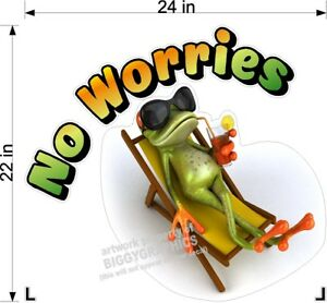 22-034-x-24-034-RV-MOTORHOME-DECAL-NO-WORRIES-WITH-COOL-FROG-LAMINATED