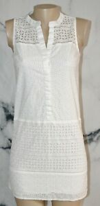 ANN TAYLOR LOFT White Eyelet Sleeveless Shirt Dress 0 Lined 100% Cotton Summer
