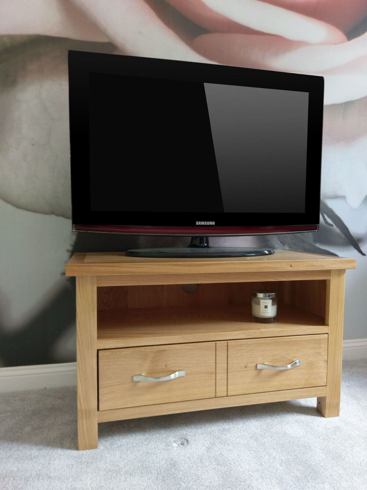 regal light oak small 2 drawer tv unit / compact modern television