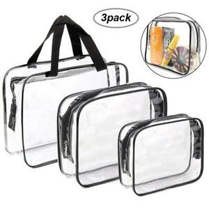 Details about Set of 3 Pcs Waterproof Clear Cosmetic Toiletry PVC Travel Wash Makeup Bag Pouch