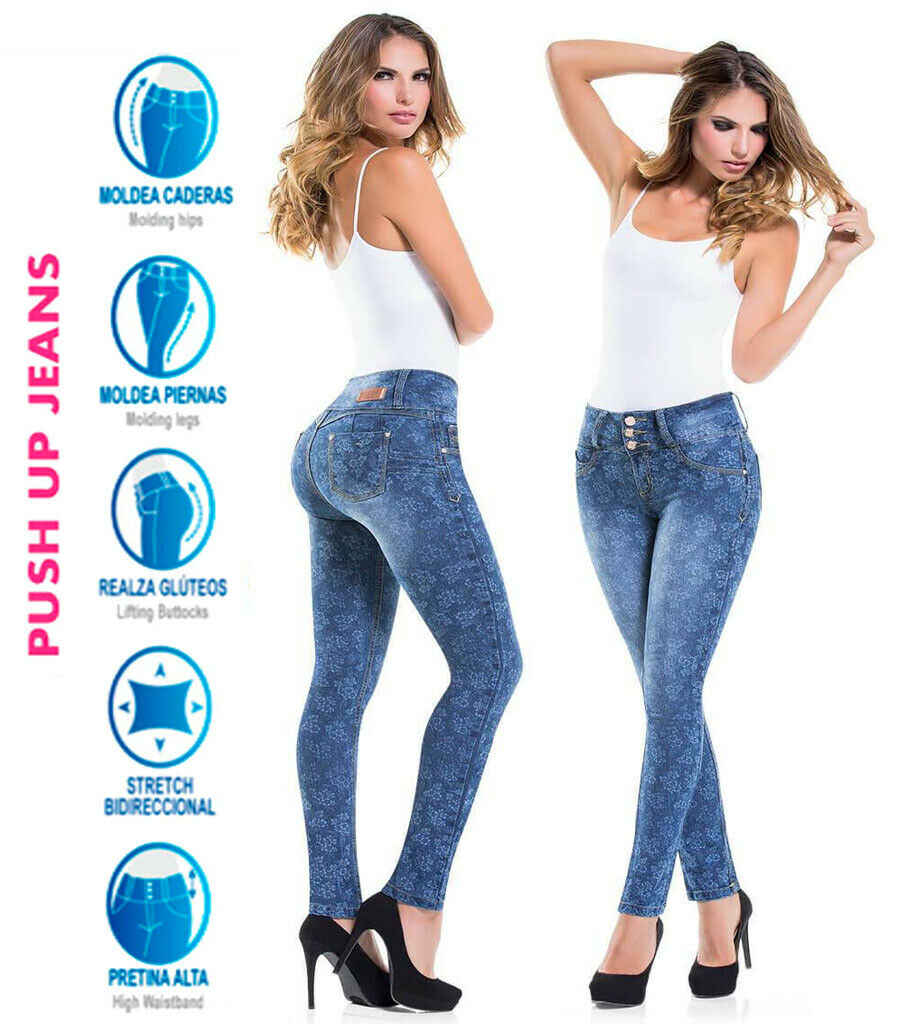 Colombianer Skinny Stampade Jeans Push Up Jeggings High Waist Pkonsty Pants Cysm