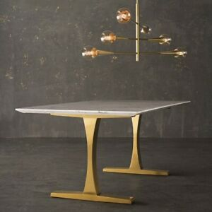 Details About Modern White Marble Dining Table Gold Base Toulouse Restoration Hardware Replica