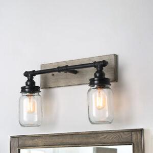2-Armed-Vanity-Lights-Black-Wood-Glass-Shade-Wall-Sconces-Bathroom-Farmhouse