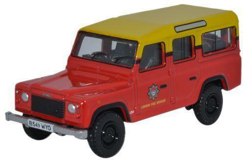 OXFORD DIECAST 76DEF011 1:76 OO SCALE Land Rover Defender London Fire Brigade