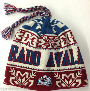 Details about NWT NHL Colorado Avalanche Reebok Cuffless Tassel Knit Hat  Beanie Cap NEW OSFA