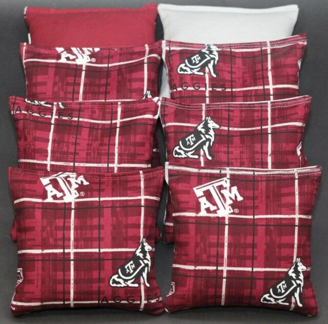 CORNHOLE BEANBAGS made w TEXAS A/&M University AGGIES Fabric 8 ACA Reg Bags