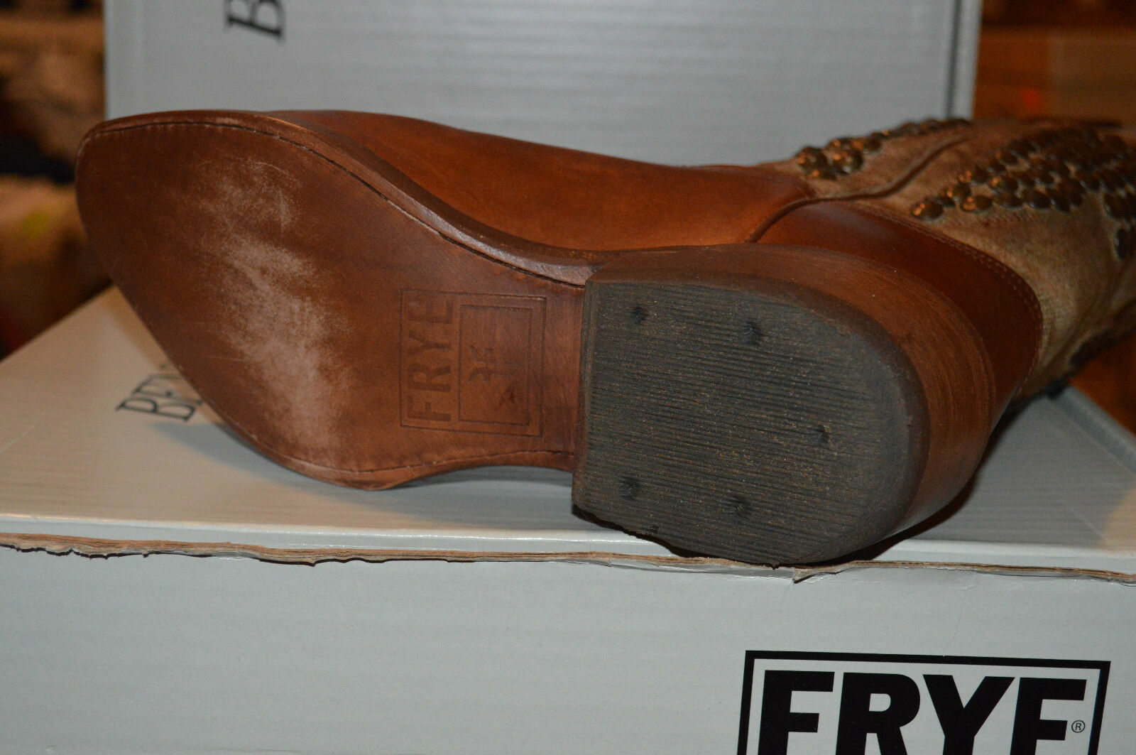 NEW FRYE BILLY BOOTS shoes Pull-on Cowboy    348 Hammered Stud Cognac 77689 Brown 4cc21f