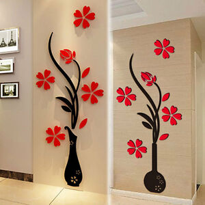 Image Is Loading Beautiful 3D Flower DIY Mirror Wall Decals Stickers