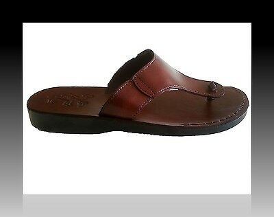 Men/'s Black Leather Sandals Biblical Shoes Summer Beach Toe Flat Flip Flops 6-12