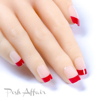 Red French Manicure Full Cover Press On 24 Nail Tips