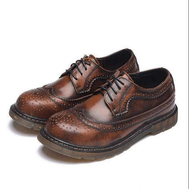 Sz38-46 Brogue Mens Carved Retro Round Toe Wing Tip Lace UP Dress shoes Oxfords