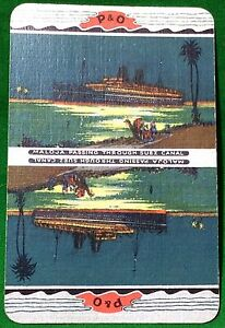 Playing-Cards-1-Single-Card-Old-P-amp-O-Shipping-Line-Advertising-Art-MALOJA-Ship