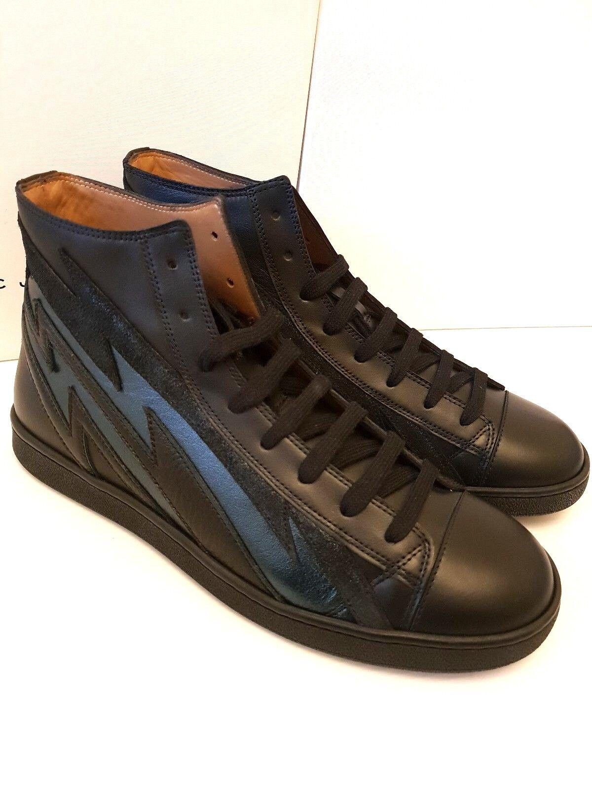 MARC JACOBS Cuero Hi-Top Zapatillas para hombre Talla EU44 Reino Unido 10 en Negro S87WS0248