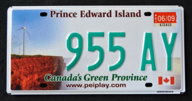 CANADA PRINCE EDWARD ISLAND WINDMILL - GREEN PROVINCE PEI Graphic License Plate