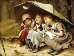 "3 Vintage VICTORIAN Girls CAT Kitten *CANVAS* Giclee Art Print - LARGE 19"" x 13"""
