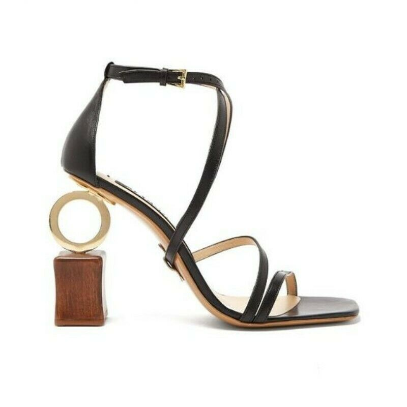 Womens Geometry Sandals Ankle Strap Open Toe Runway Rome Summer shoes Asymmetric