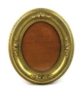 Antique 19th Century Victorian Oval Frame Gold Gilt Wood Gesso Fits 10x8 Glass