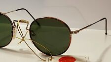 New Vintage Gold Tortoise Wire Green Lenses Metal  Sunglasses  Made in Italy
