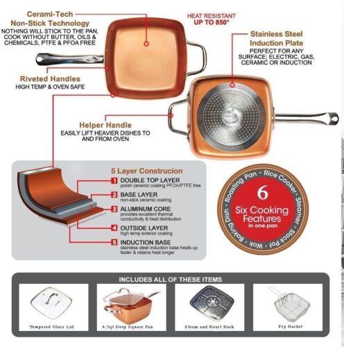 Cobre antiguo Olla Antiadherente Pan Inducción Base 5PC Set Freír Pan De Vapor