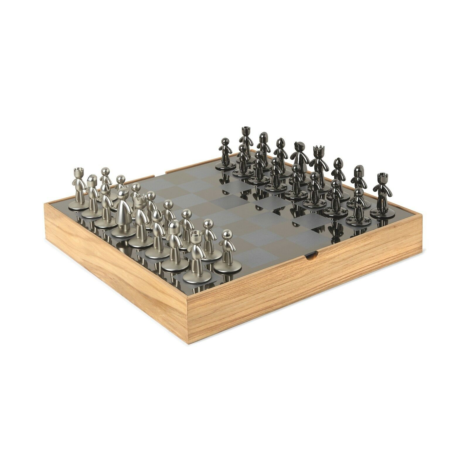 Unique Modern Contemporary Wood & Metal Self Storing Chess Board & Pieces Set