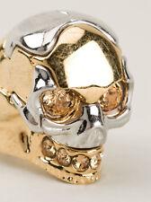 Alexander McQueen Gold & Silver Swarovski Crystal Skull Ring