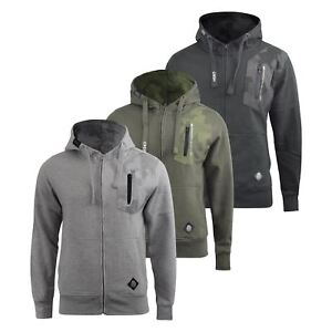 Mens-Hoodie-Crosshatch-Full-Zip-Sweatshirt-Hooded-Jumper-Top-Pullover-Radzim