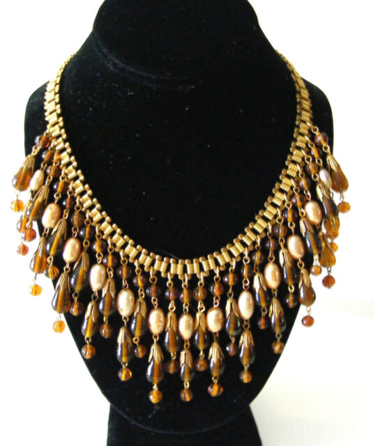 Vintage Signed MIRIAM HASKELL Bib Collar Necklace Amber Glass Baroque Pearls