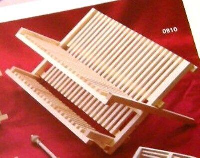 Plate /&Cutlery Combined Racks 2-Tier Pine wood Dish Drying Rack 52cm 810