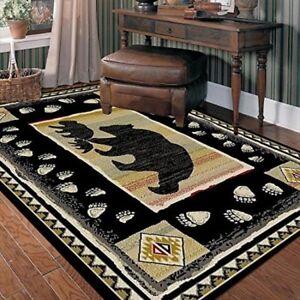 Area Rug Black Bear Rustic Home Living