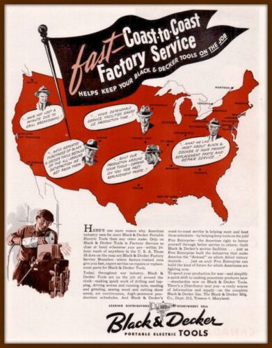 1943 A AD BLACK AND DECKER TOOLS COAST TO COAST GRINDER WORKER