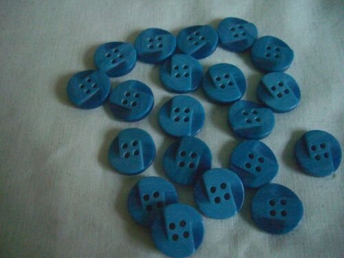 BLUE 2 SHADE SMALL 4 HOLE   BUTTONS  x 20 FREE P/&P