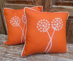 Cotton-Cushion-Covers-Orange-White-Hand-Made-Dandelion-Embroidery-pair-40cm