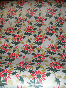 image is loading vintage christmas wrapping paper gift wrap poinsettias 1940s - Vintage Christmas Wrapping Paper