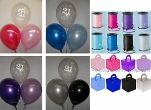 Image Is Loading 21st Birthday Helium Balloons Ribbon Box Weights 10