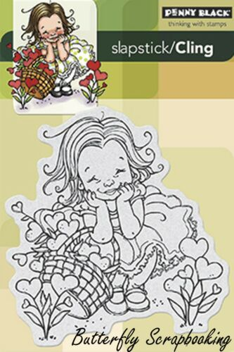 Garden of Love Girl Cling Style Unmounted Rubber Stamp PENNY BLACK 40-271 New