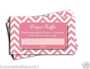 Modern Pink Chevron Printable Baby Shower Diaper Raffle Tickets