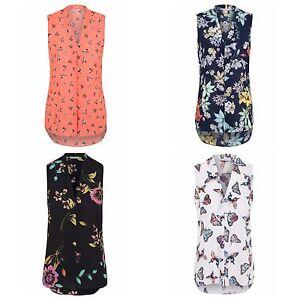Ex-Store-Ladies-Pleated-V-Neck-Chiffon-Sleeveless-Blouse-Size-8-24