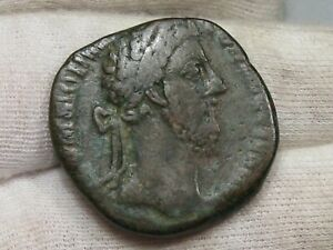 Romano: Commodus 161-192 Anuncio AE Sestertius S-5826 - Rev: Victoria Bretaña #9