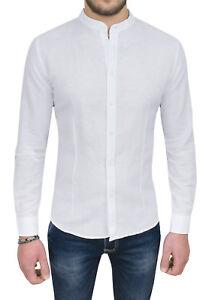 Se Blanco Slim Está Imagen Lino Hombre Camisa La Casual Fit Cargando Elegant CFq54Ow00