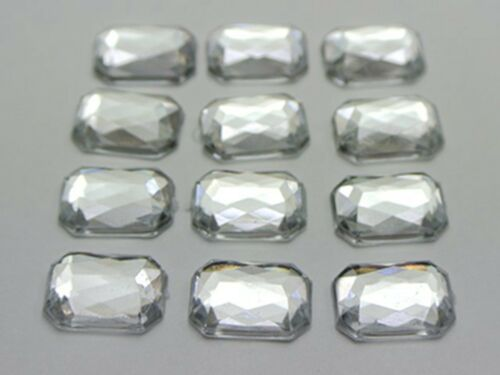Craft DIY Clear Acrylic Flatback Faceted Rhinestone Gems No Hole Various Shape