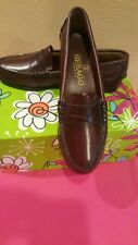 Sebago BROWN Penny Loafers Roamers Shoes Hand Sewn USA Women's 7 Med BRAND NEW