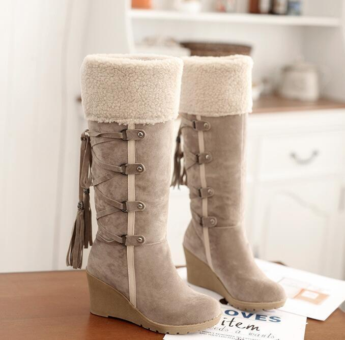 Wedge Heel Womens Faux Suede Knee High Boots fur Fringe  fur liner Shoes boots
