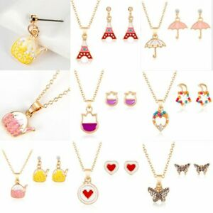 Fashion-Cartoon-Butterfly-Jewelry-Sets-Crystal-Pendant-Earrings-Necklace-Jewelry