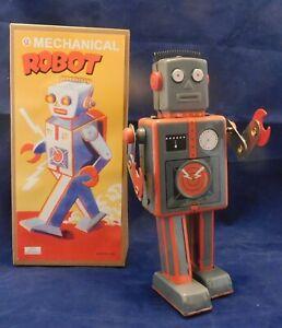Jouet-de-l-039-Espace-MECHANICAL-ROBOT-gris-et-orange-hauteur-23-cm-NEUF